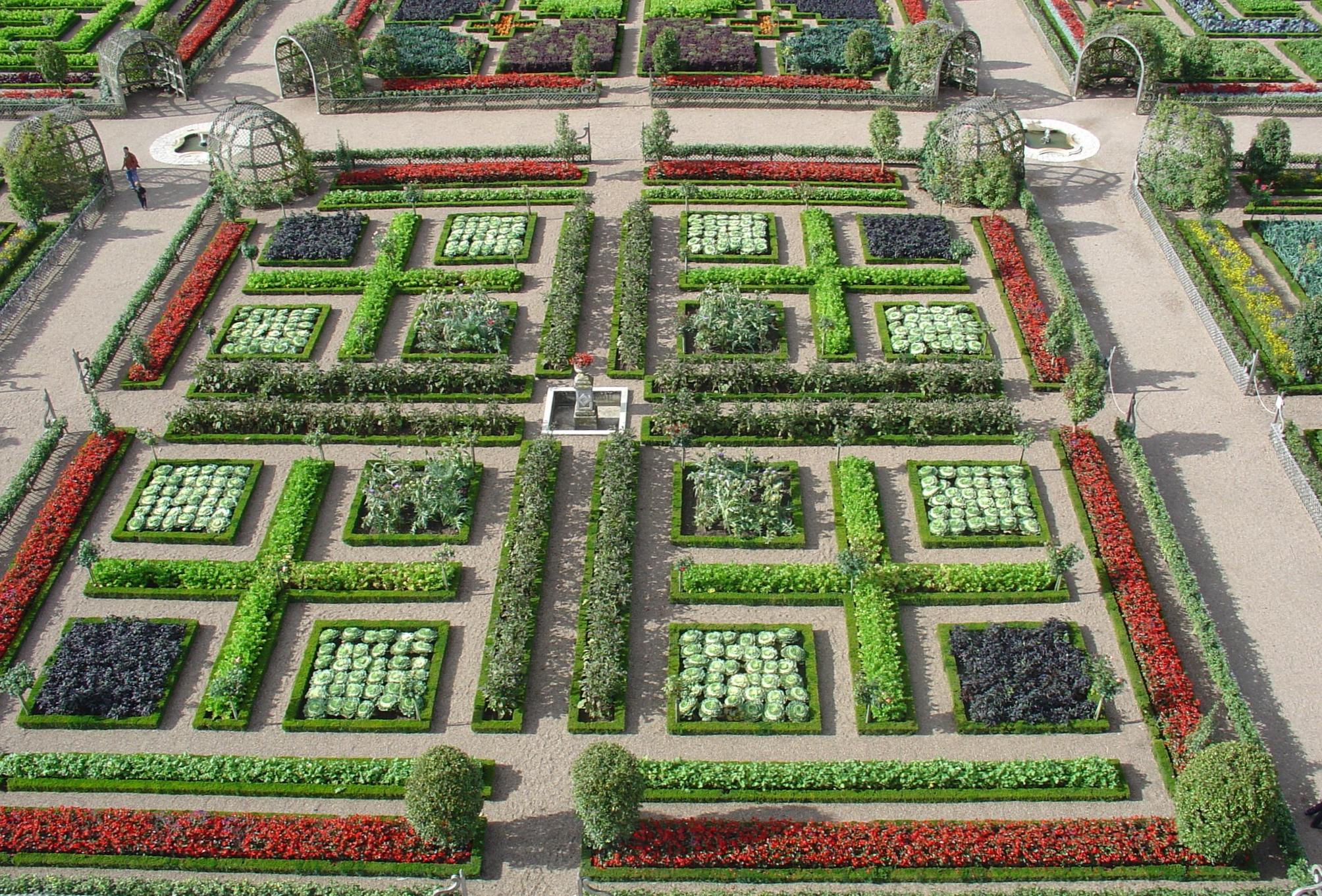 Blick auf den Schlossgarten von Villandry
